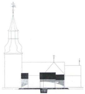 Hørning Kirke, trækirken og gravhøj